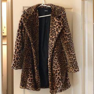 Missguided leopard faux fur coat